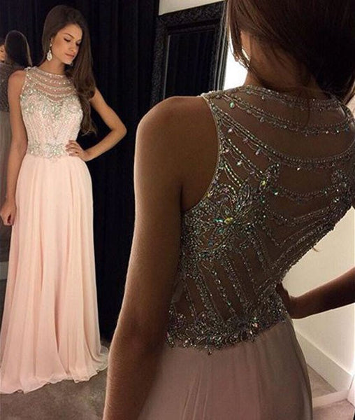 Round Neck Sleeveless Sequins Pink Prom Dresses, Pink Formal Dresses