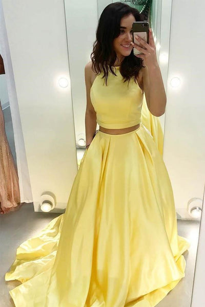 Round Neck Two Pieces Yellow Satin Long Prom Dress with Pockets, Two Pieces Yellow Formal Dress, Yellow Evening Dress