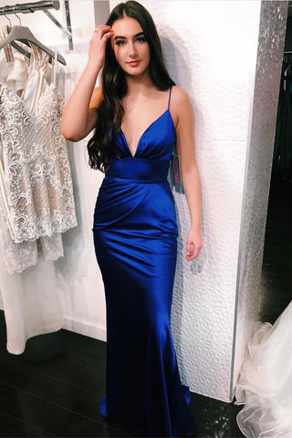 Royal Blue Satin Mermaid V Neck Long Prom Dress, Mermaid Royal Blue Formal Dress, Royal Blue Evening Dress