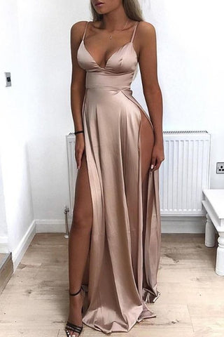 Sexy Champagne Satin Long Prom Dress with Double Split, Champagne Formal Graduation Evening Dress