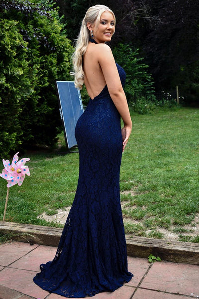 Sexy Mermaid Halter Neck Backless Long Blue Lace Prom Dress, Mermaid Blue Lace Formal Graduation Evening Dress