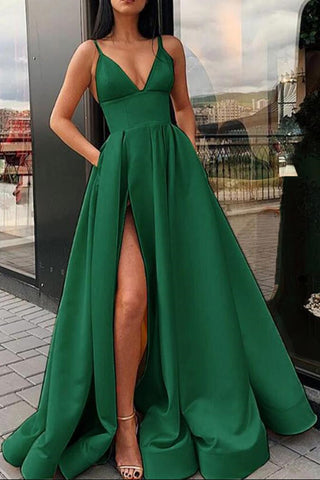 Sexy V Neck Emerald Green Yellow Long Prom Dress with High Split, Emerald Green Yellow Formal Graduation Evening Dress