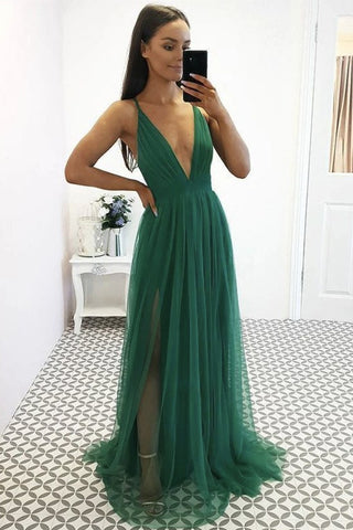 Sexy V Neck Green Tulle Long Prom Dress, V Neck Green Formal Dress, Green Evening Dress
