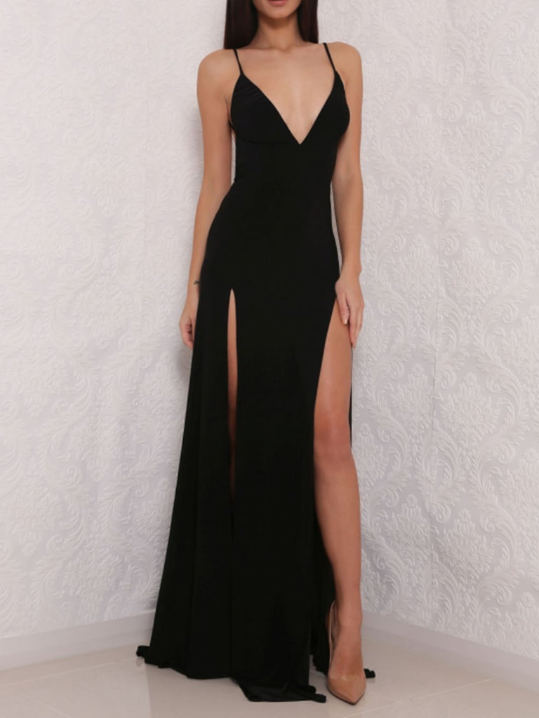 Sexy A Line V Neck Backless Black Prom Dresses with Slit, V Neck Black Formal Dresses, Evening Dresses