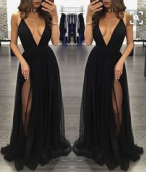 Sexy Backless V-neck Tulle Long Black Prom Dresses, Black Evening Dresses