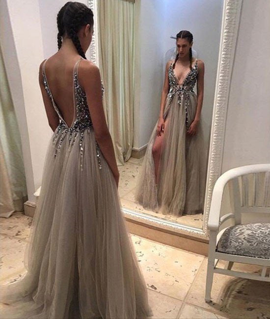 Sexy Deep V Neck Backless Sequin Grey Long Prom Dresses Evening