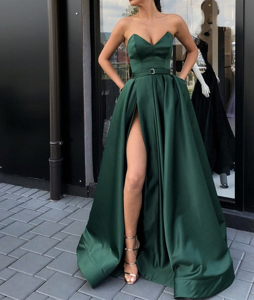 Sexy Emerald Green Strapless Satin Long Prom Dresses with High Slit, Green Formal Dresses, Green Evening Dresses