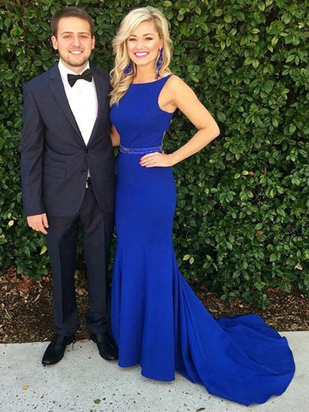 Sexy Royal Blue Mermaid Scoop Neck Long Prom Dresses with Sweep Train, Mermaid Royal Blue Formal Dresses, Royal Blue Evening Dresses