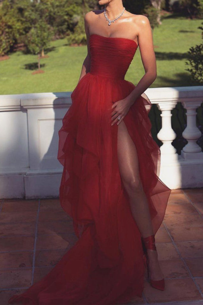 Sexy Strapless Layered Red Long Prom