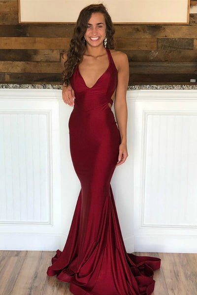 Sexy V Neck Mermaid Backless Burgundy Satin Long Prom Dresses, Burgundy Mermaid Formal Dresses, Burgundy Evening Dresses