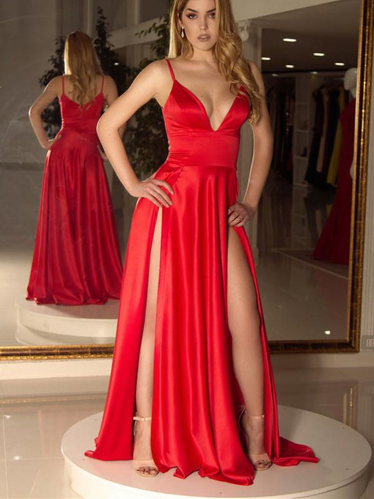 Sexy V Neck Red Satin Long Prom Dresses with