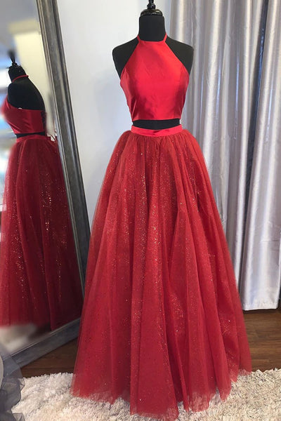 Shiny 2 Pieces Halter Neck Red Long Prom Dress, Two Pieces Red Formal Graduation Evening Dress