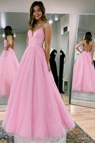 Shiny A Line V Neck Backless Pink Long Prom Dress, Open Back Pink Formal Evening Dress