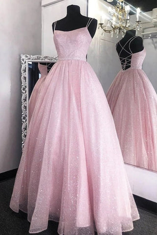 Shiny Backless Pink Sequins Long Prom Dress, Pink Formal Evening Dress, Sparkly Ball Gown