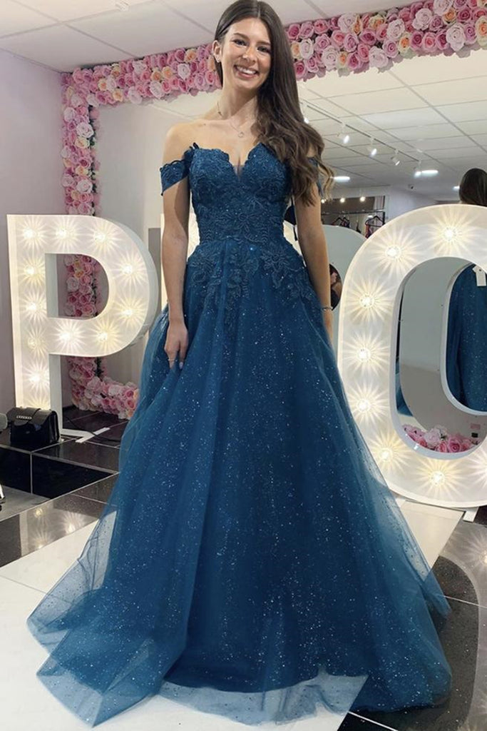 Shiny Off the Shoulder Blue Lace Long Prom Dress, Off Shoulder Blue Lace Formal Dress, Blue Lace Evening Dress