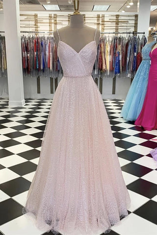 Shiny Sequins V Neck Pink Long Prom Dress, V Neck Pink Formal Graduation Evening Dress
