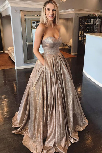 Shiny Strapless Sweetheart Neck Champagne Long Prom Dress, Golden Long Formal Evening Dress
