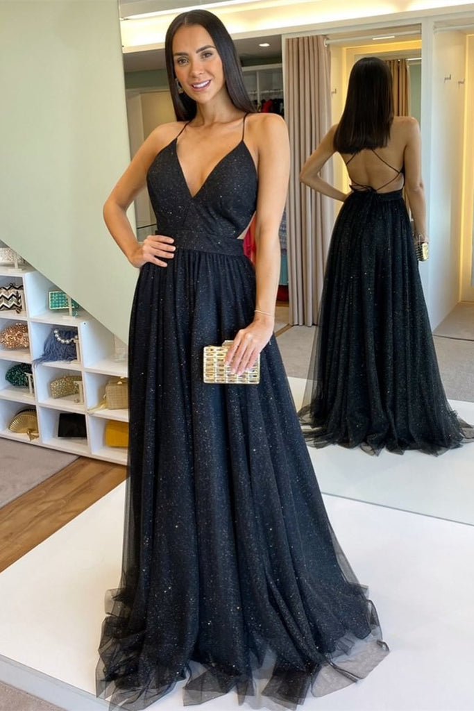 Shiny V Neck Backess Sequins Black Long Prom Dress, Backless Black Formal Dress, Sparkly Black Evening Dress