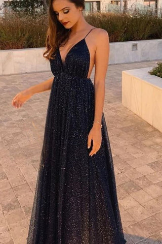 Shiny V Neck Backless Black Long Prom Dress, Backless Black Formal Dress, Sparkly Black Evening Dress