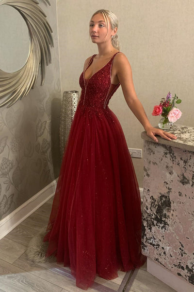 Shiny V Neck Backless Burgundy Lace Long Prom Dress, Long Burgundy Lace Formal Dress, Burgundy Evening Dress