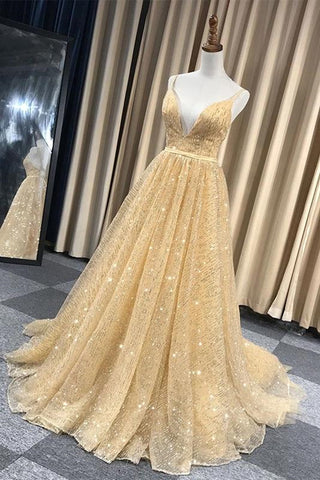 Shiny V Neck Backless Long Golden Prom Dress, Sparkly Golden Formal Dress, Golden Evening Dress