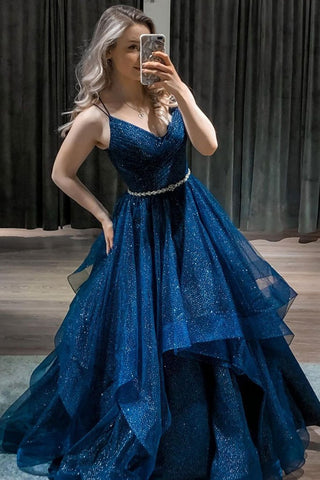 Shiny V Neck Dark Blue Long Prom Dress with Belt, Fluffy Blue Formal Evening Dress, Sparkly Blue Ball Gown
