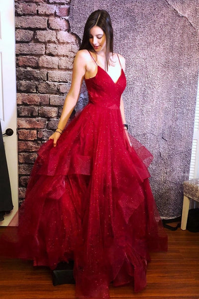 Shiny V Neck Fluffy Burgundy Long Prom Dress, Burgundy Formal Dress, Sparkly Burgundy Evening Dress