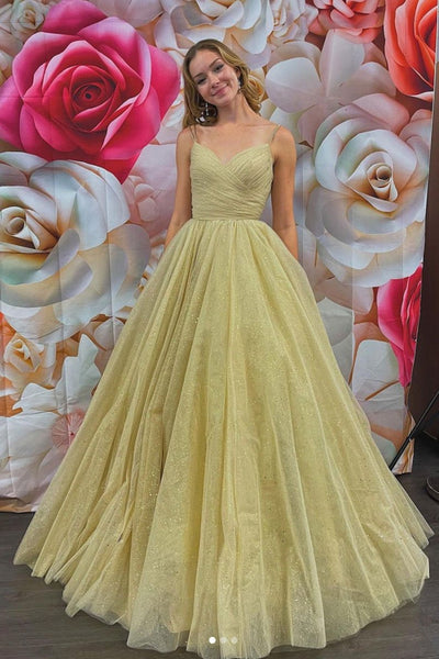 Shiny V Neck Golden Sequins Long Prom Dress, V Neck Golden Formal Dress, Sparkly Golden Evening Dress