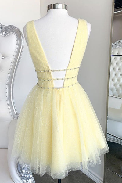 Shiny V Neck Open Back Yellow Tulle Short Prom Dress, V Neck Yellow Formal Graduation Homecoming Dress