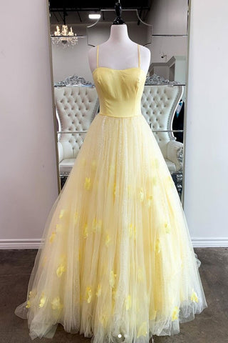 Shiny Yellow Tulle Sequins Long Prom Dress with Thin Straps, Yellow Long Formal Evening Dress