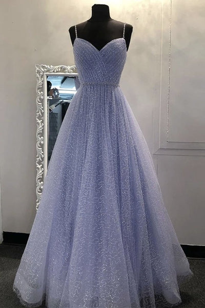 Shiny A Line V Neck Sequins Lilac Long Prom Dress, Lilac Lavender Formal Graduation Evening Dress, Sparkly Party Dress