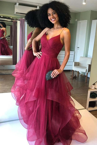 Shiny V Neck Backless Burgundy Prom Dress, Backless Maroon Formal Evening Dress, Fluffy Burgundy Ball Gown