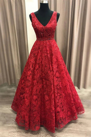 Shiny V Neck Burgundy Lace Long Prom Dress, Burgundy Lace Formal Dress, Sparkly Burgundy Evening Dress