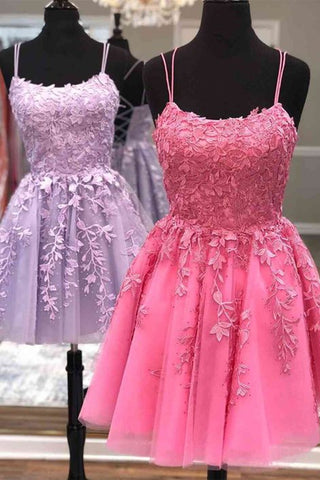 Short A Line Thin Straps Purple/Hot Pink Lace Prom Dress, Purple/Hot Pink Lace Homecoming Dress, Lilac/Hot Pink Short Formal Evening Dress