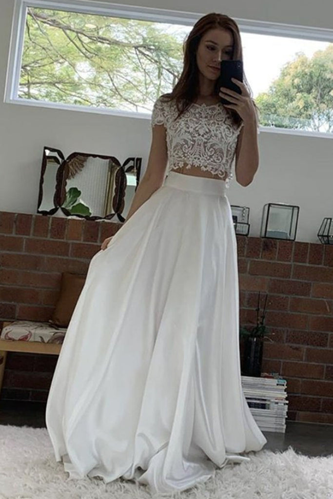 Short Sleeves 2 Pieces White Lace Long Prom Dress, Two Pieces White Formal Dress, White Lace Evening Dress