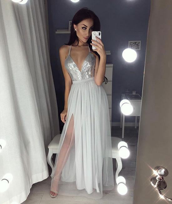 Silver Gray A Line V Neck Backless Tulle Long Prom Dress wtih Leg Slit, Silver Gray Backless Formal Dress, Backless Evening Dress