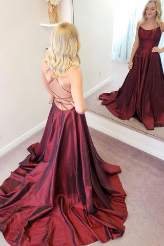 Simple A Line Backless Thin Strap Burgundy Satin Long Prom Dress, Backless Burgundy Formal Evening Dress