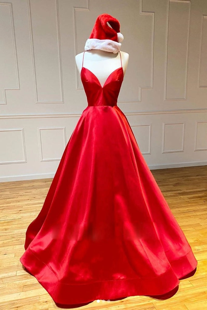 Simple A Line V Neck Backless Red Long Prom Dress, Backless Red Fromal Dress, Red Evening Dress