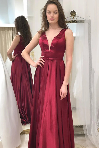 Simple A Line V Neck Burgundy Long Prom Dress, V Neck Burgundy Formal Graduation Evening Dress