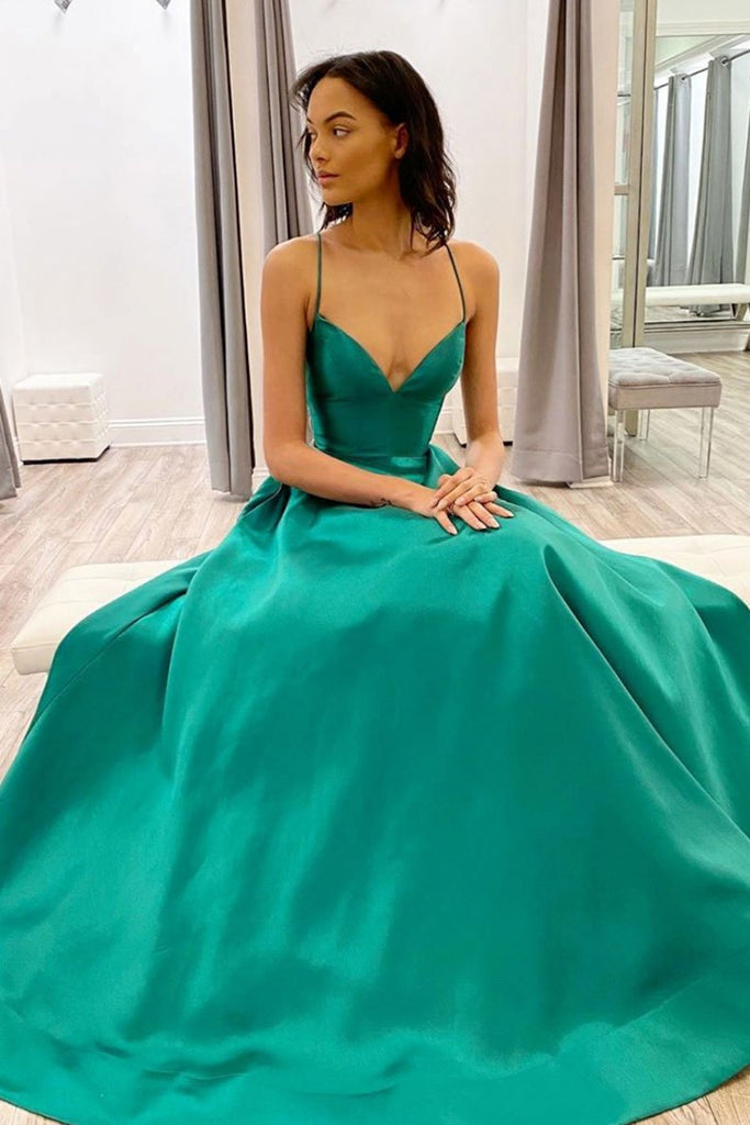 Simple A Line V Neck Green Satin Long Prom Dress, Green Formal Graduation Evening Dress, Party Dress
