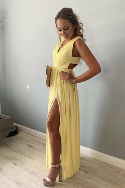 Simple A Line V Neck Yellow Chiffon Long Prom Dress with Slit, V Neck Yellow Formal Dress, Yellow Evening Dress