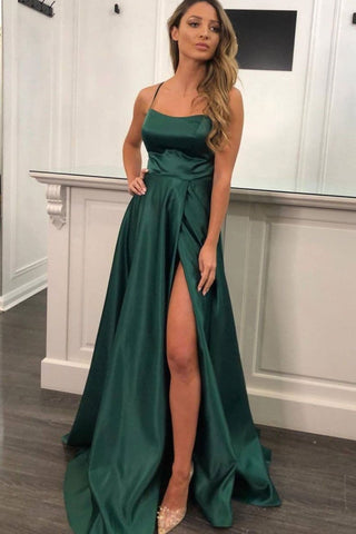Simple Emerald Green Satin Long Prom Dress with Slit, Emerald Green Formal Graduation Evening Dress
