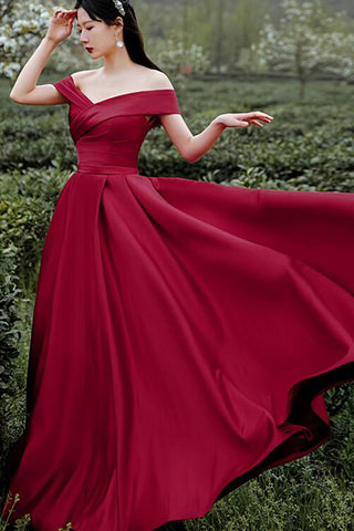Simple Off Shoulder Burgundy Long Prom Dress, Off the Shoulder Maroon Formal Dress, Burgundy Evening Dress