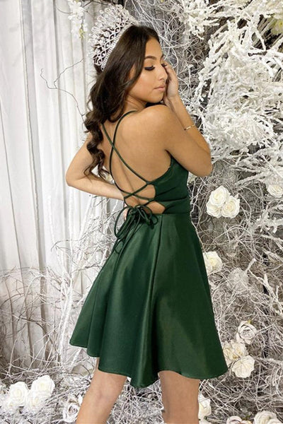 Simple Short Backless Green Prom Dress, Backless Green Formal Graduation Homecoming Dress