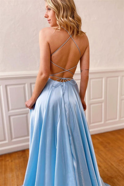 Simple V Neck Backless Light Blue Long Prom Dress with High Slit, Backless Light Blue Formal Graduation Evening Dress