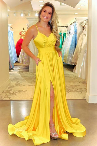 Simple V Neck Backless Yellow Satin Long Prom Dress, Long Backless Yellow Formal Evening Dress