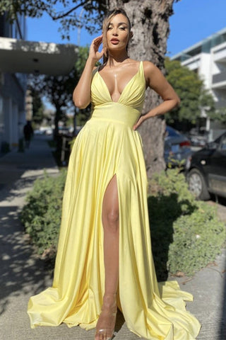 Simple V Neck Backless Yellow Satin Long Prom Dress with Slit, V Neck Yellow Formal Dress, Yellow Evening Dress
