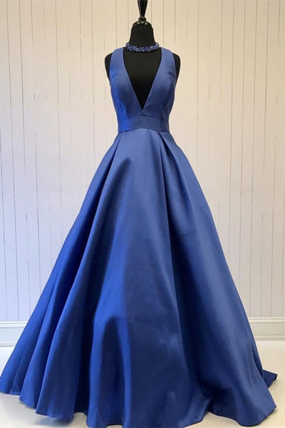 Simple V Neck Blue Satin Long Prom Dress, V Neck Blue Formal Dress, Cheap Blue Evening Dress
