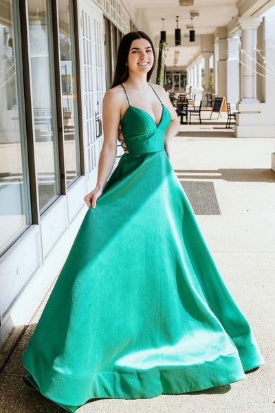 Simple V Neck Green Satin Long Prom Dress, Thin Strap Green Formal Evening Dress
