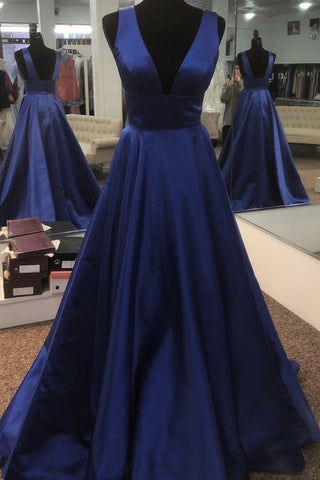 Simple V Neck Open Back Blue Long Prom Dress, V Neck Blue Formal Dress, Blue Evening Dress